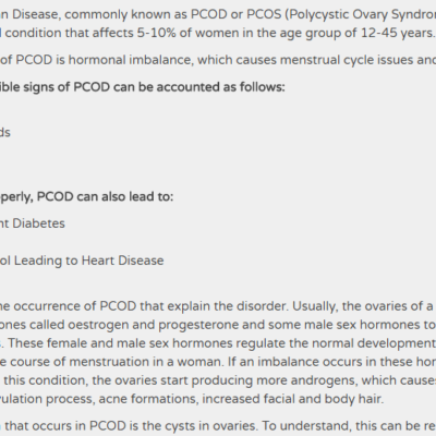 PCOD – Polycystic Ovarian Disease – A Threat or Not - Diet Chemistry